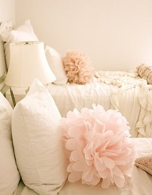 Bed Pom Poms ~ using tulle and same method used for making tissue paper flowers. So cute! - Click image to find more Home Decor Pinterest pins