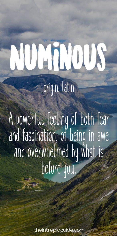 Travel Words Numinous