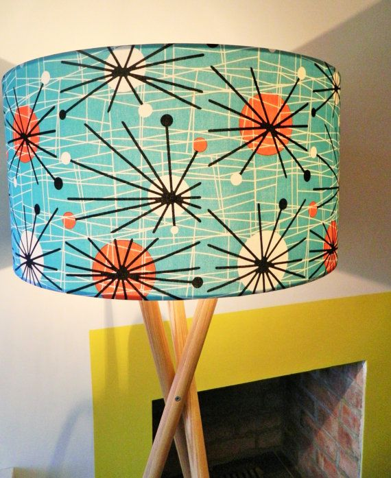 1950s Retro Atomic Fabric Lampshade by MakeHayDesign on Etsy