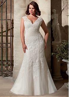 Elegant Organza V-neck Neckline Natural Waistline Mermaid Plus Size Wedding Dress With Lace Appliques