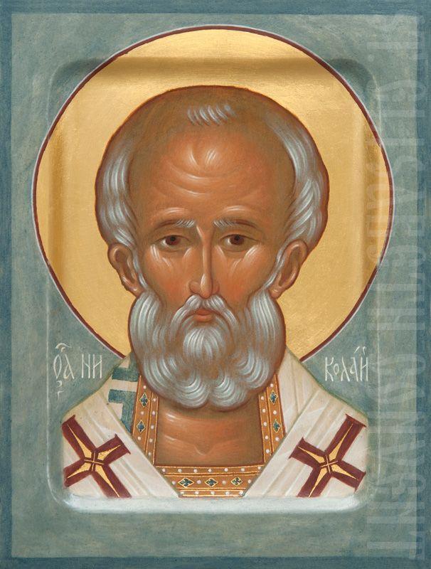 painted shoulder-length icon of st nicholas the wonderworker