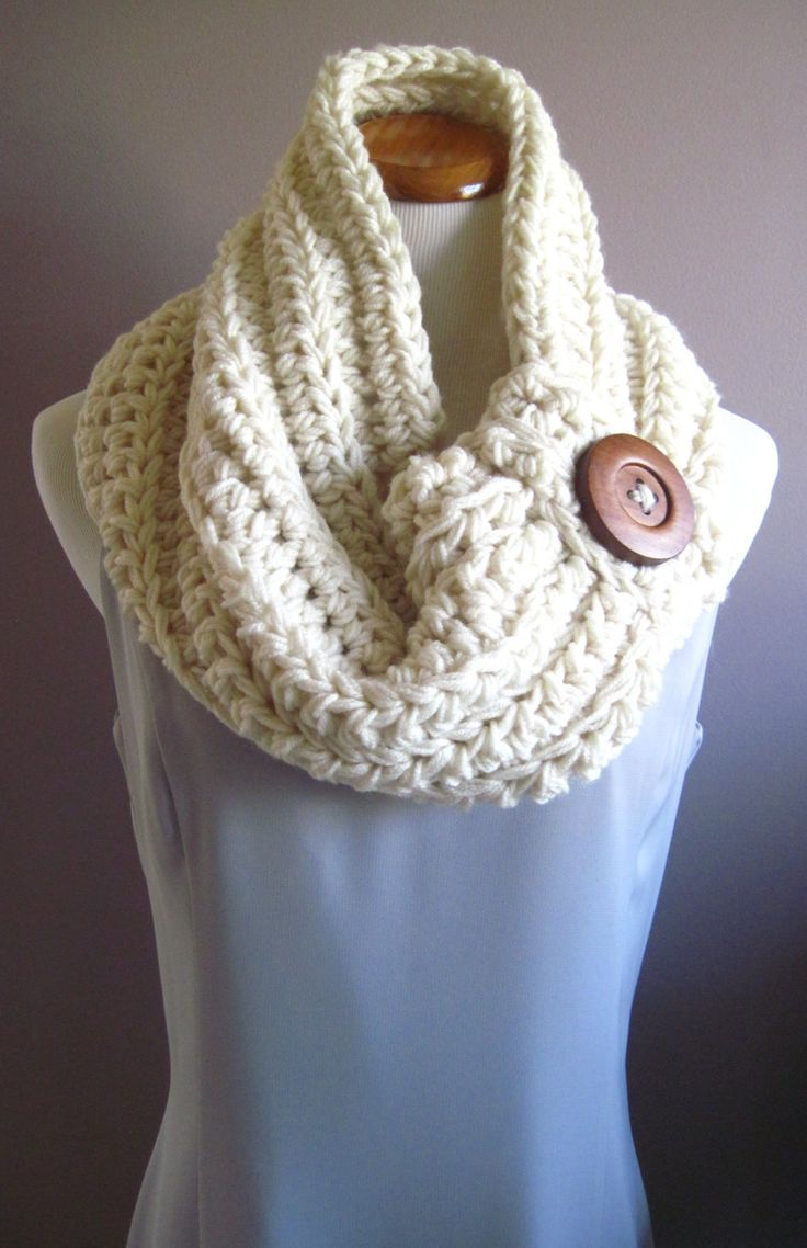 Chunky Bulky Button Crochet Cowl:  Off White with Brown Wood Button, via Etsy