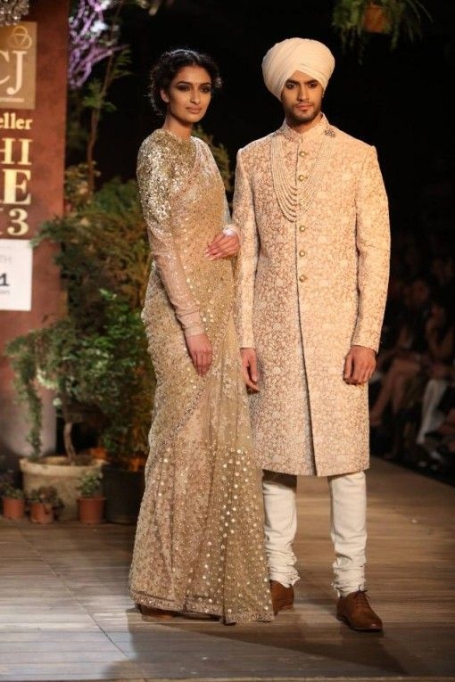 Sabyasachi Champagne & Gold Sari and Sherwani on IndianWeddingSite.com