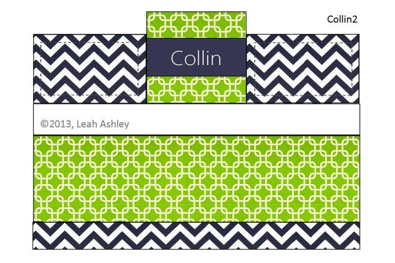 4pc crib bedding set navy blue lime green white by - Navy blue and green bedding ...