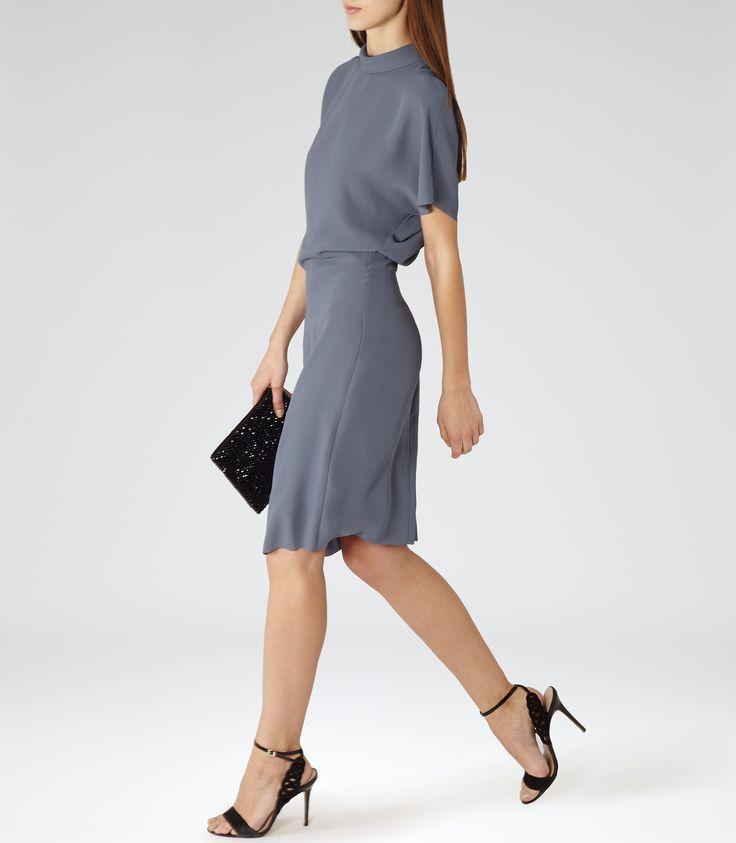 Reiss Berry Women's Blue High-neck Dress