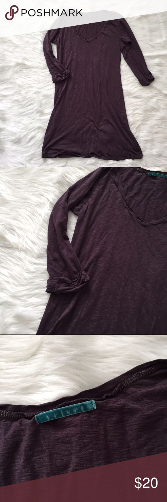 Velvet // Plum Burnout 3/4 Sleeve T-Shirt Dress Used in excellent condition. No Trades / No PayPal /  Smoke-Free Home / Ask Questions! / No Model Requests Please / Like what you see but dont like the price? MAKE ME AN OFFER! Velvet by Graham & Spencer Dresses Long Sleeve