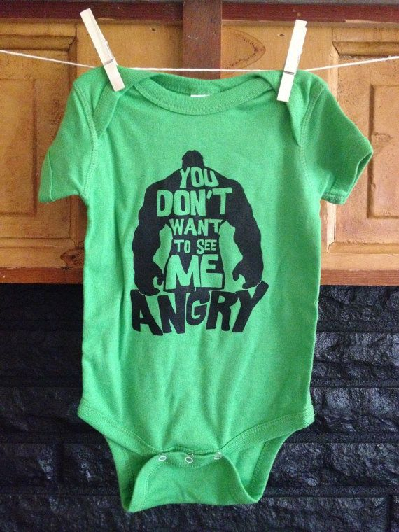 """Hulk Onesie """"You Don't Want to See Me Angry"""" Lime Green Rabbit Skins"""