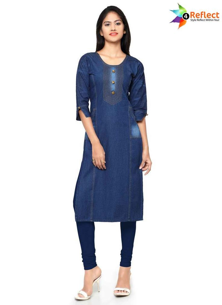 ELEGANT BLUE DENIM PARTY WEAR KURTI
