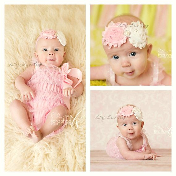Baby Girl Outfit-Pink Ruffle Lace Petti Romper & Vintage Headband-Easter Outfit Dress-Preemie-Newborn Girl Clothes-Infant-Child-Clothes-Chic on Etsy, $18.95
