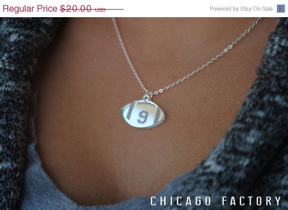 Custom Football Necklace with any number mirrored acrylic by Chicago Factory- (S099)