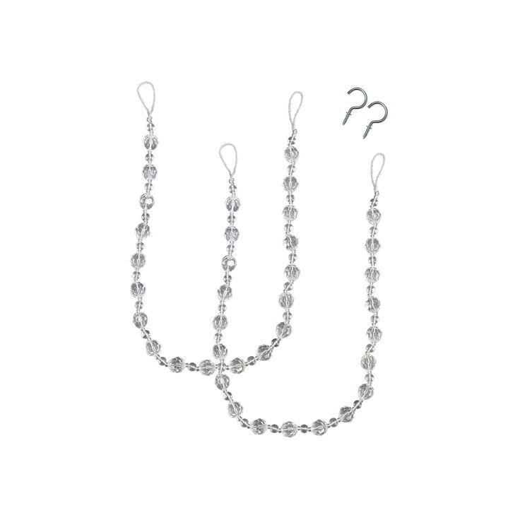 Bali Crystal Bead 2 Pack Curtain Holdbacks, White