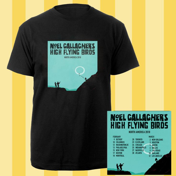 Noel Gallagher's High Flying Birds tour dates feb-mar 2018 black tees; Material 100% cotton, Basic style; Short sleeve;