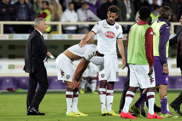 Alessio Cerci (C) of Torino FC shows his dejection during the Serie A match between ACF Fiorentina and Torino FC at Stadio Artemio Franchi o...