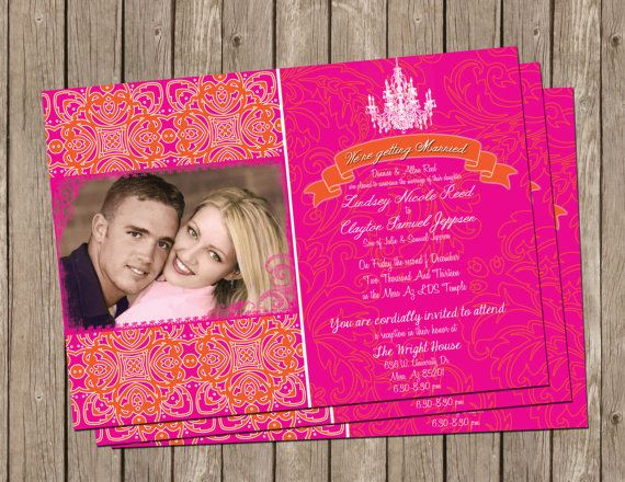 Fuschia And Orange Wedding Invitations: Bollywood Wedding Invitation In Hot Pink And Orange