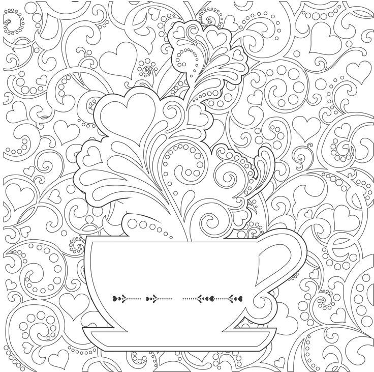 tea cup Adult Colouring Coffee Tea Cakes