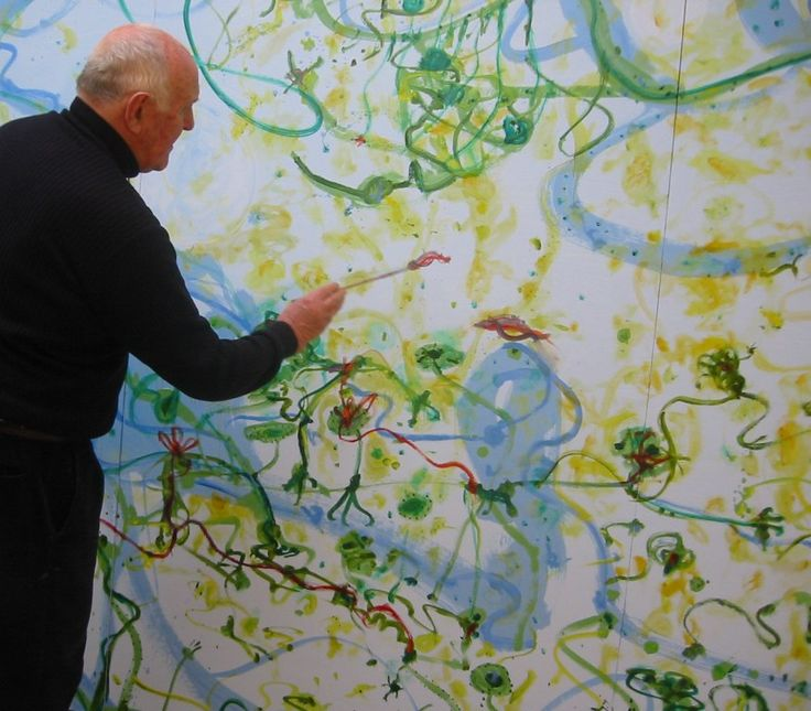 John Olsen painting in his studio. Words by Clive James.
