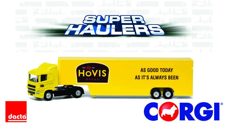#CORGI. Super Haulers (Súper Camiones) es una serie de fundición a presión y de plástico de calidad de camiones de juguete a escala 1:64 adecuados para niños de tres años o más. Cada camión tiene un remolque desmontable y lleva la pintura auténtica de algunos de los camiones más populares en la carretera hoy.