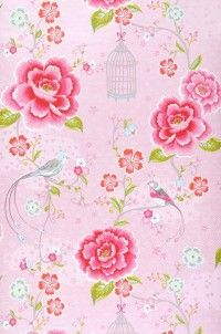 Lovely pink wallpaper for a kitchen corner or backsplash with plexi overlay.
