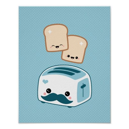Cute Mustache Toaster Print