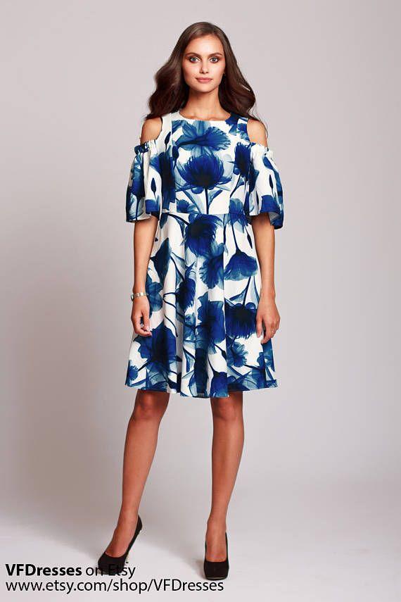 Flores vestido corto azul vestido floral midi vestido de