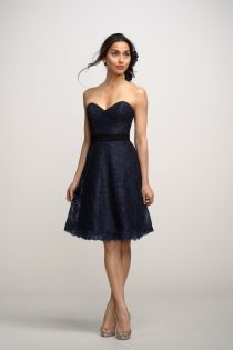 navy lace strapless sweetheart neck a line short bridesmaid dress