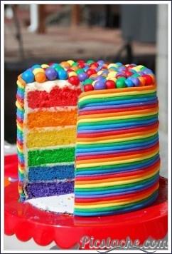 Färgglad tårta :)