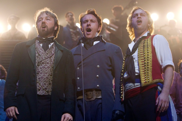 John Owen-Jones (Jean Valjean), Earl Carpenter (Javert) and Jon Robyns (Enjolras) during the curtain call for the Les Miserables 25th Anniversary Concert at The O2 Arena, London, England on the 3rd October 2010. #theatre #lesmis #musicals  (Credit: Dan Wooller/wooller.com) http://www.lesmis.com/