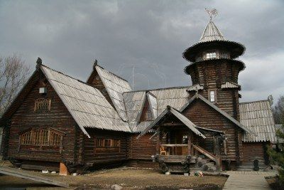 Dacha a Russian seasonal or year-round second home Stock Photo