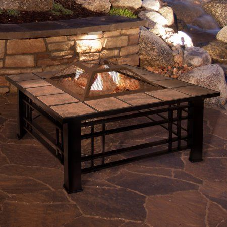 Fire Pit Set, Wood Burning Pit - Includes Spark Screen and Log Poker - Great for Outdoor and Patio by Pure Garden, Bronze