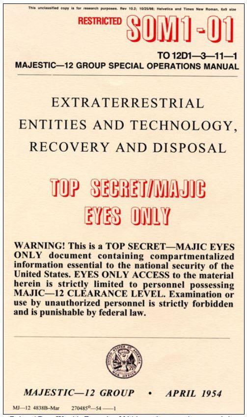Genuíno: Manual Majestic 12 de Entidades e Tecnologia Extraterrestres, Recuperação e Descarte