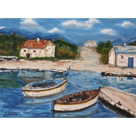 """""""Chorwacja""""  Olej na płótnie oprawiony w podwójną ramę.  Wymiary płótna : 30cm x 40cm.  Wymiary z ramą : 43cm x 53cm.  Obraz malowany ręcznie wysokiej jakości farbami, zabezpieczony werniksem."""