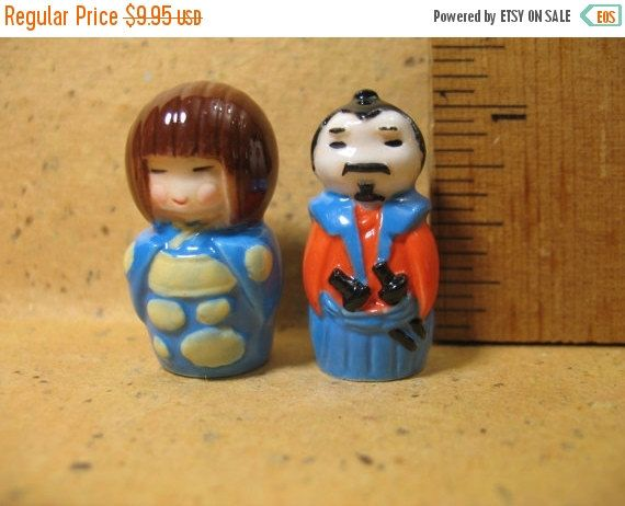 SALE 2 Mini KOKESHI Good Luck Charm Dolls Health by ValueARTifacts