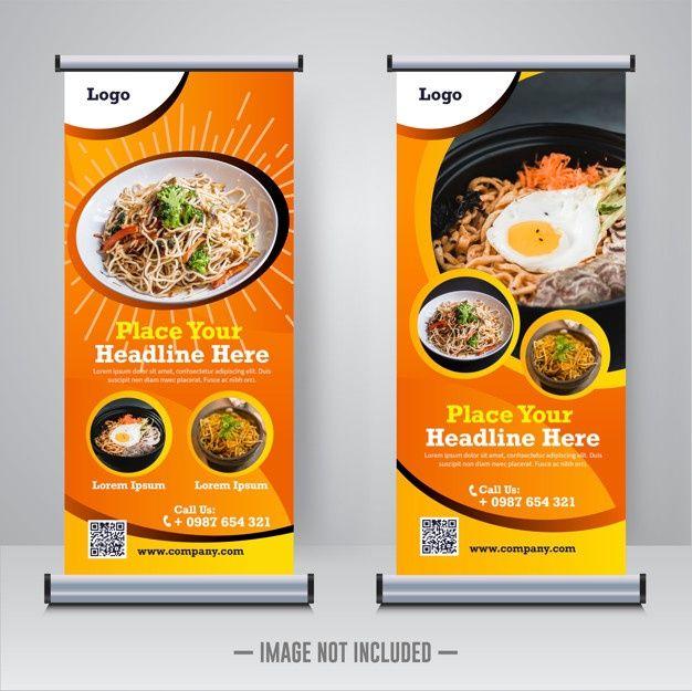 Food Roll Up Banner Template   Desain makanan, Makanan ...