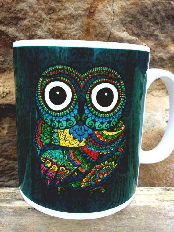 Bohemian Owl Mug  Boho PaganOwl lover HolisticGypsy