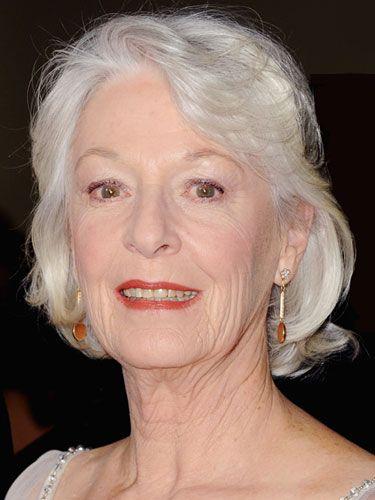 Jane Alexander. Silver hair, elegant classic style.