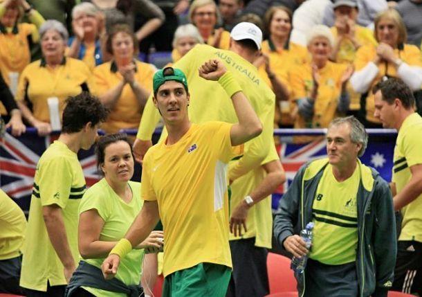 Big hero: Thanasi Kokkinakis, 2015 Davis Cup. Read about it at Tennis Now.