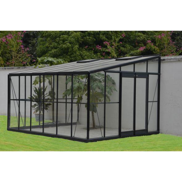 Serre Adossee En Verre Trempe Solarium Grise 11 85 M Chalet Jardin Avec Images Jardin D Hiver