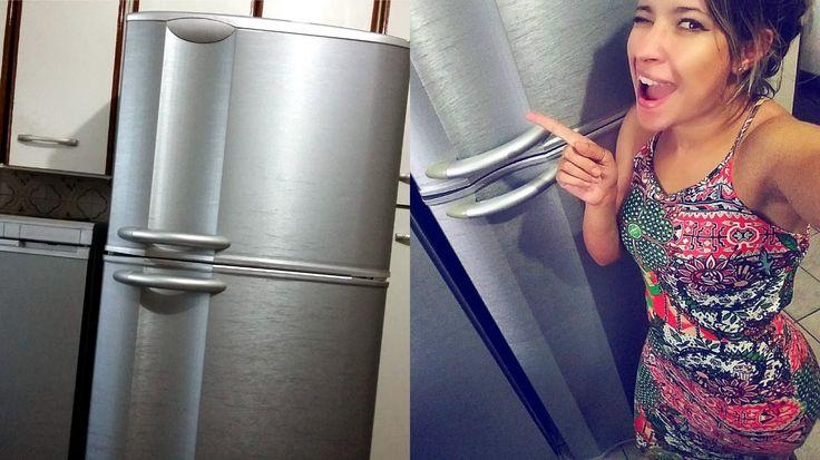 DIY: Envelopando a geladeira! (transformando Geladeira branca em Inox)