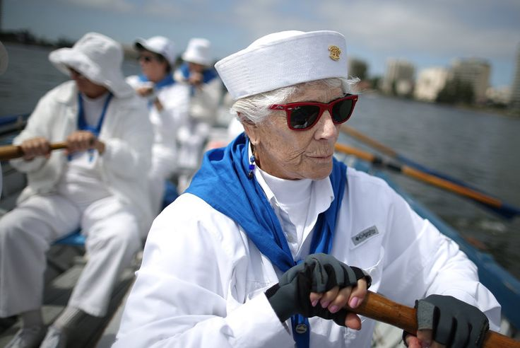 """Elizabeth Clark, member of the Oakland Women's Rowing Club [or """"Ladies of the Lake""""]. Founded in 1916, the club rows in four whale boats every Wednesday morning on Oakland's Lake Merritt. All its current members are between 60 and 80 years old. More like her at https://www.pinterest.com/yrauntruth/grow-up-age-croning/"""