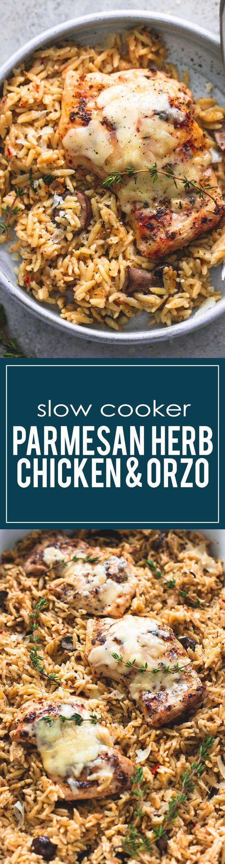 Easy Slow Cooker Parmesan Herb Chicken & Orzo   http://lecremedelacrumb.com