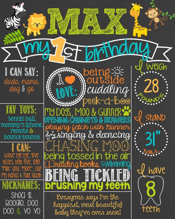 Safari Theme Birthday Chalkboard Poster // by PersonalizedChalk