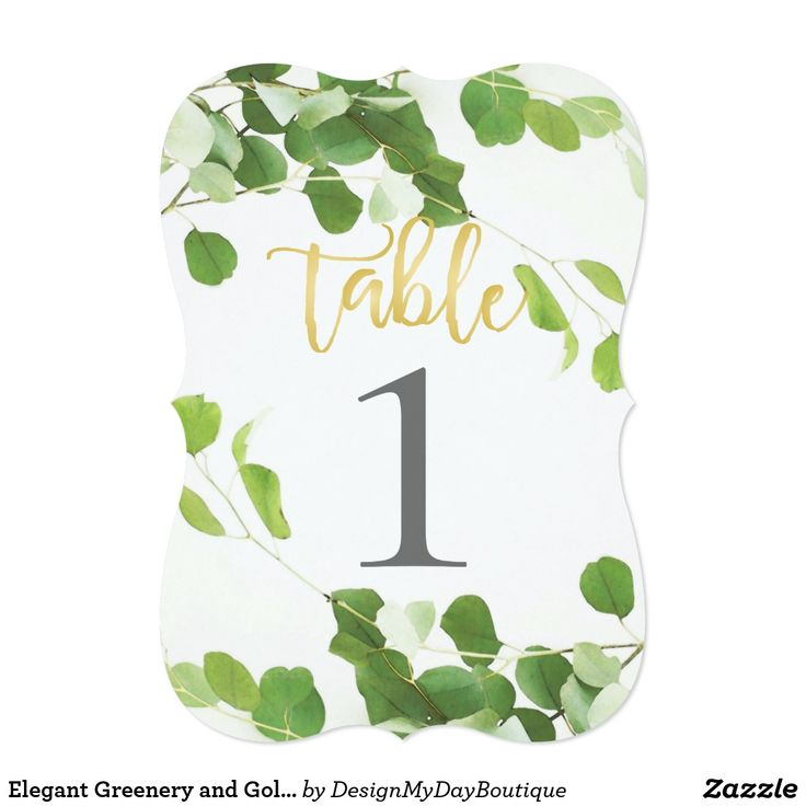 Elegant Greenery and Gold Script Table Number