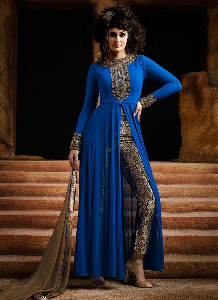 Royal Blue Georgette Straight Pant Suit