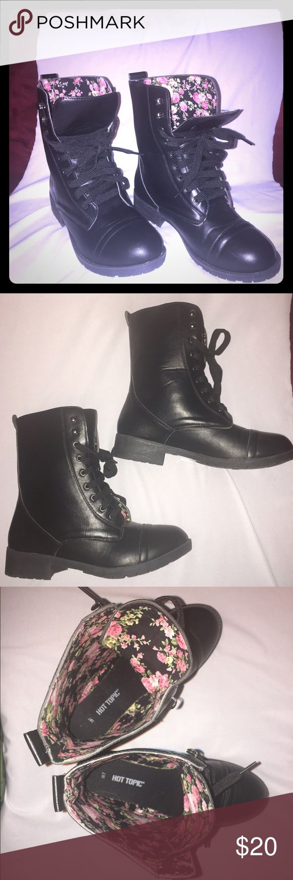 Hot Topic Black Combat Boots Hot Topic Black Combat Boots with a floral print on the inside. Size 7. Never worn. Hot Topic Shoes Combat & Moto Boots