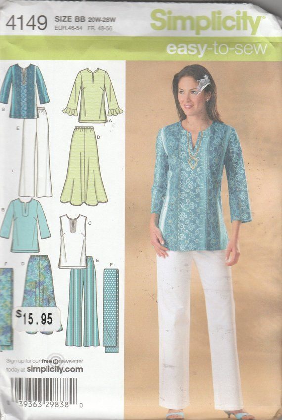 Pants Tunic Top and Scarf Sewing Pattern for Women Sizes 10-18 Simplicity Easy-to-Sew 4149 Skirt