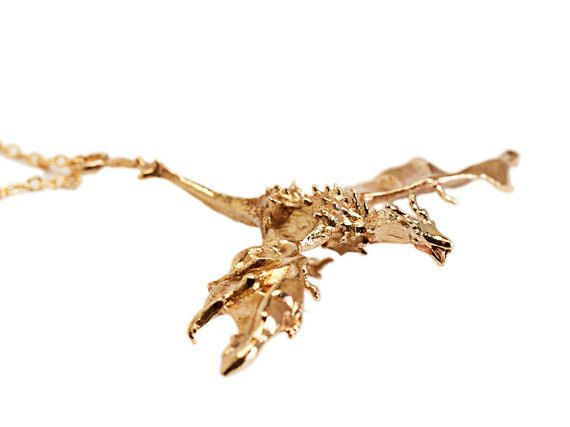 Flying Dragon Necklace  Fantasy Jewelry  Dragon by 3DPrintedSkull
