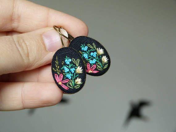 Embroidered earrings OOAK herbs wildflowers meadow