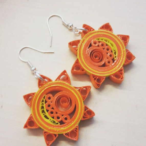 Celestial Sun quilled earrings. special gift for her by Narikella