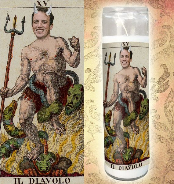 The Devil Customized Prayer Candle - Devil Prayer Candle - Funny Saint Candle - Vintage Diablo - Funny Office Gift - Il Diavolo Candle