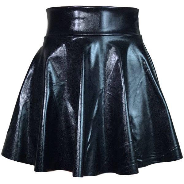 Black Faux Leather High Waisted Skater Skirt Clubwear, Rave Wear, Mini... ($28) ❤ liked on Polyvore featuring skirts, mini skirts, circle skirts, mini skater skirt, mini skirt, high-waisted flared skirts and high-waist skirt
